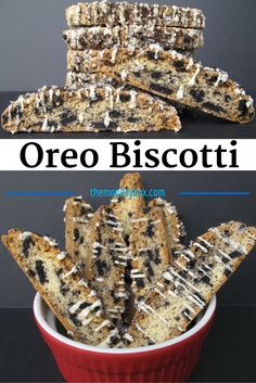 Oreo Biscotti - tender crisp vanilla biscotti filled with Oreo chunks and drizzled with white chocolate and Oreo crumbs!Oreo Biscotti - tender crisp vanilla biscotti filled with Oreo chunks and drizzled with white chocolate and Oreo crumbs! Italian Cookies, Italian Desserts, Köstliche Desserts, Delicious Desserts, Dessert Recipes, Snack Recipes, Biscotti Cookies, Biscotti Flavors, Vegan