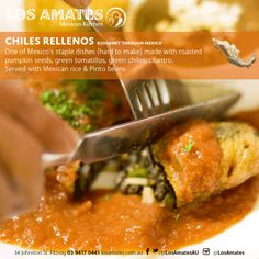 Delicious and Authentic Mexican Food in Melbourne. Enjoy an amazing dinner at Los Amates and a JOURNEY THROUGH MEXICO with our authentic Mexican cuisine. Chile Relleno, Mexican Kitchens, Roasted Pumpkin Seeds, Mexican Food Recipes, Ethnic Recipes, Pinto Beans, Kitchen Dishes, Cilantro, Melbourne