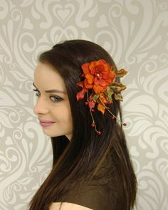 Autumn Hair Clip, Fall Leaves and Flowres Fascinator, Woodland Hair Clip, Woodland Wedding, Boho Hair Clip, Rustic Flower Clip, Orange Clip by RuthNoreDesigns on Etsy