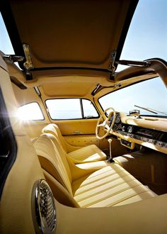 Mercedes Benz 300SL Gullwing interior with gullwing door open - cars style vintage design
