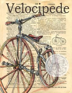 Velocipede Antique Bicycle Drawing on 1890's edition dictionary - flying shoes art studio