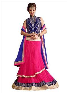 Pink Net Layered Lehenga Choli