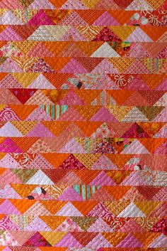 Love the color orange pink art quilt  USE THIS FOR MY PLATTEVILLE QUILT!!!