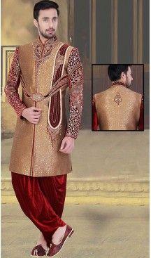 Tan Brown Color Jacquard,Velvet Groom Readymade Wedding Short Sherwani | FH492275523 #sherwani, #wedding, #mens, #fashion, #boutique, #indowestern, #kurta, #pajama, ##turban, #safa, #heenastyle, #man, @heenastyle , #indian, #clothing, #style, #henna, #ethnic, #wear, #royal