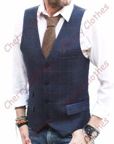 MENS BLUE WITH BROWN CHECK SLIM FIT TWEED STYLE WAISTCOAT VEST ALL SIZES