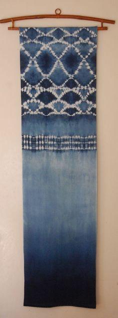 indigo wall panel Indigo shibori on cotton http://shiborigirl.bigcartel.com/product/indigo-wall-panel