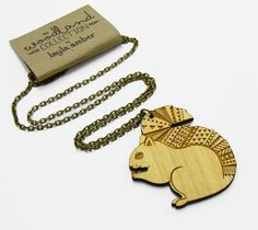 Wooden Squirrel Necklace by laylaamber on Etsy, £13.00