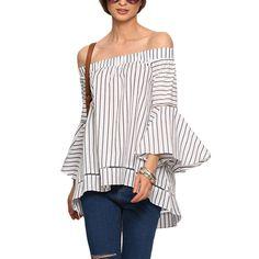 Aliexpress.com: Comprar Sheinside mujeres fuera del hombro rayas blusas trabajo del estilo del verano 2016 nuevas damas Multicolor blusa manga de la llamarada de blusa de árbol fiable proveedores en Sheinside Group Co. Ltd.