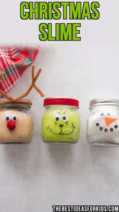 CHRISTMAS SLIME - these Christmas slime jars are so fun to make! Make some Christmas slime and give it out as gifts for Christmas. An easy gift for kids to help make!   #bestideasforkids #kidscrafts #kidsactivities #craftsforkids #christmascrafts #christmas #diy #crafts #preschool #kindergarten #ornaments #slime #slimerecipe