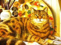 RARE Vintage Pimpernel Leonardo Cat Art Deco by ChinaGalore, $12.00