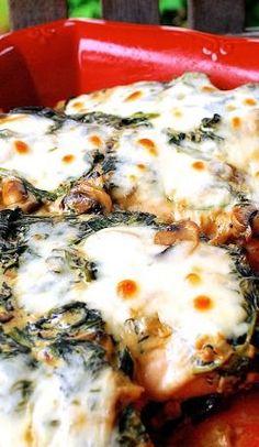 Main Dish - Cheesy Spinach Mushroom Chicken Bake
