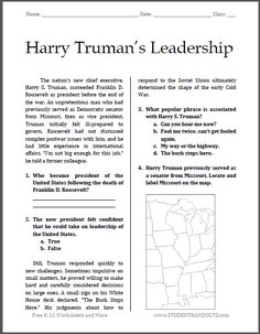 Printables Leadership Worksheets pinterest the worlds catalog of ideas harry trumans leadership free printable worksheet for high school american history students