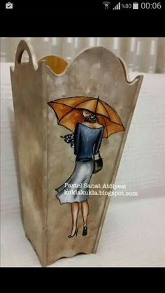 şemsiyelik Decoupage Box, Decoupage Vintage, Burlap Pillows, Mdf Wood, Casket, Painting On Wood, Easy Diy, Scrap, Shabby