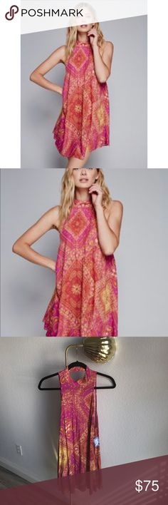 NWT Free People Paisley Dress Intimately by Free People pink paisley print dress with a high neck. Boho style at its best! This dress is beautiful! NEW with tags! Free People Dresses