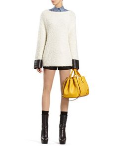 Wool Blend Top with Leather Cuffs, Leopard-Print Straight Shirt & Black Shorts by Gucci at Bergdorf Goodman.
