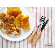 クミタス レシピ メープルケーキの焼きバナナと豆腐クリーム添え(卵・乳・小麦不使用)
