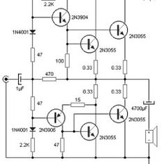 90 W audio power amplifier based on transistor - Amplifier Circuit Design Dc Circuit, Circuit Design, Circuit Diagram, Circuit Board, Electronic Circuit Projects, Electronic Engineering, Electronics Projects, Diy Electronics, Hifi Amplifier