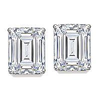 Clic Emerald Cut Cz Stud Earrings