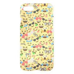 #cute emoji love hears kiss smile laugh pattern iPhone 7 case - #emoji #emojis #smiley #smilies