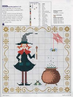 I think from a Spanish magazine Pagan Cross Stitch, Cross Stitch Needles, Cross Stitch Charts, Cross Stitch Designs, Cross Stitch Patterns, Halloween Embroidery, Halloween Cross Stitches, Halloween Crochet, Cross Stitching
