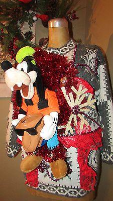 UGLY Christmas Sweater GoOFY Can Holder Joe Camel Koozie lights sz M/<3<3SOLD<3<3