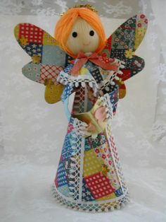 Vintage 1970s Patchwork Christmas Angel