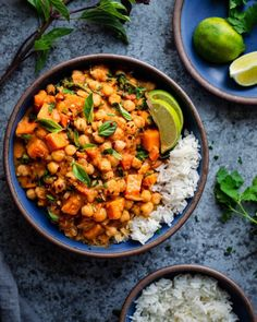 Thai Butternut Squash Curry with Chickpeas #Chickpea #garbanzobeans #garbanzos #chickpeas #cook #dinner #vegan #veganrecipes #veganfood #healthylifestyle #healthy #healthyfood #nutrition