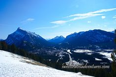 View of the Town of Banff, Alberta, Canada From Above in Winter