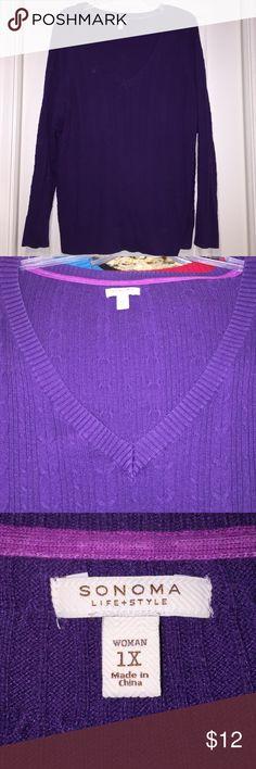 Sonoma purple vneck sweater Pretty cables Sonoma Sweaters V-Necks