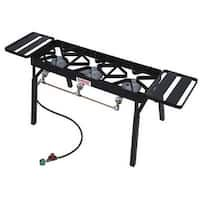 Bayou Classic TB650 Triple Burner Outdoor Patio Stove with E Plancha Grill, Best Deep Fryer, Best Charcoal Grill, Outdoor Stove, Large Pots, Black Stainless Steel, Outdoor Cooking, Tailgating, Steel Frame