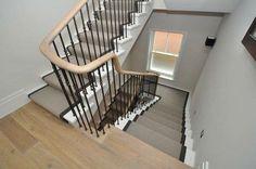 Wool Loop carpet stair runner with cotton binding tape, templated on half landing. By Bowloom Ltd.