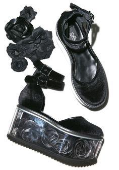 Dolly Bae Velvet Rose Platforms   Dollskill   $130