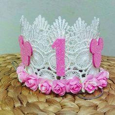 "Follow and Shop @pinkys_ohh_so_cute for your favorite lace crowns Perfect for Birthdays Photoshoots Cake Toppersand any ocassion ""Because every Princess deserves a Crown"" Custom orders Welcome!!! ============ Promo by: @Shop.Box87"