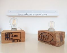 Industrial style lamp from EPAL pallet wood block! Get yours: