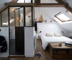 11 converted attic bedrooms to inspire you. Amazing transformations that prove we all need a bedroom in the attic. For more converted bedroom and attic bedroom ideas go to Domino. Attic Renovation, Attic Remodel, Bedroom Wall, Bedroom Decor, Bed Room, Bedroom Ideas, Master Bedroom, Small Attic Room, Slanted Walls