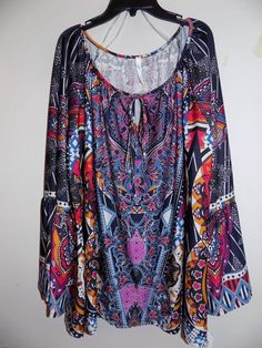 6680933170294f 3X NY Collection Plus size Bell-Sleeve Printed Peasant Womens Top New With  Tags #