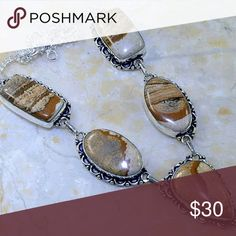 Genuine Jasper 925 Necklace This is a beautiful sterling silver 925 Genuine Jasper Necklace. 19 inch.  Brand new crafted. Jewelry Necklaces