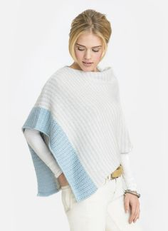 Grace on the go. Slip this polished poncho over your shoulders and feel instantly elegant. Knit in one panel and seamed at the shoulder Bianca is undeniably a beauty. Create your own custom look by striping it in your favorite shades of Suri Merino. Pattern No. 20151