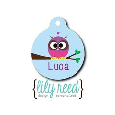 Pet Tag  purple owl