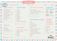 Lista de cosas para llevar de viaje 1 (os pondré varias a elegir)  MR WONDERFUL