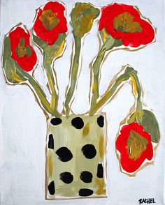 """""""Poppies and Polkadots"""" By Rachel Cordaro Acrylic Painting of Poppies"""