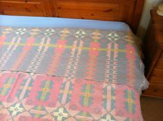 Welsh-Tapestry-Double-Blanket-Bedspread-Carthen-INVESTITURE-1969-BRYNKIR-MILL