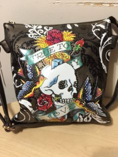 b6a1e43f1d8 Fashion One Ed Hardy Style Picture Long Strap Purse True Love Color  Gunmetal in Clothing,