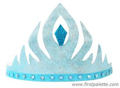 Blue Princess Elsa Paper Crown craft