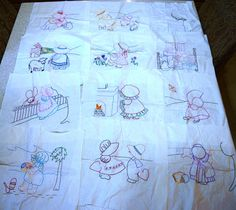 Vintage Hand Embroidered Quilting Squares Children in Bonnets Amish Farm Scenes Lot of 12