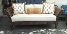 Elegant wood exposed sofa.