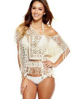Lupita Poncho Cover-Up - Natural - This striking beach cover-up was only made for you. Bettinis swimwear loves you and understands your curves. Wear it in this summer time and enjoy being a girl! - Price $95
