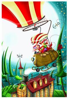 Boceto de las tias brujas volando en globo. Sketch, Projects