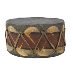 """Polychrome Pueblo drum. From a private New York State historical society.  PERIOD: Last quarter 19th Century ORIGIN: New York SIZE: 6""""D x 6""""H"""