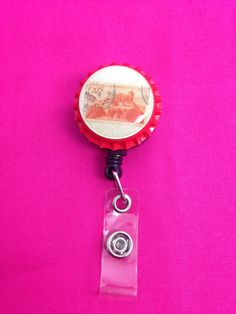 Red Stamp Bottle Cap Retractable Badge Holder by GraysonsHome on Etsy